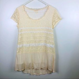 Anthropologie Meadow Rue Lace Overlay Tunic Top